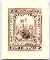 1895, 1 C., Black Brown, Single Colour Die Proof For American Banknote Company, Extremly Rare, SUP - XF!. Estimate 2.000 - Peru