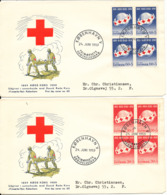 Denmark FDC RED CROSS 24-6-1959 In Block Of 4 Complete Set On 2 Covers With Cachet - Rotes Kreuz