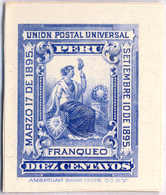 1895, 10 C., Ultramarine, Imperf. Single Die Proof For The American Banknote Company, Rare, NG,VF!. Estimate 800€. - Peru