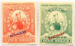 1894, 5 S., 10 S., Orange Red, Blue Green, (2),full Set With Blue And Red SPECIMEN Overprint, MNH,VF!. Estimate 1.600€ - Peru