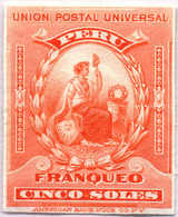 1899, 5 S., Orange Red, Imperforated Single Die Proof Of The American Banknote Company, Extremly Rare, NG,VF!. Estimate - Peru