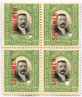 1900, 22 C., Yellow Green And Black, Block Of (4), Red SPECIMEN Overprint, Four Puncture Holes, MNH,VF!. Estimate 300€. - Peru
