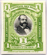 1901, 1 C., Green, Black, Imperforated Single Die Proof Of The American Banknote Company, Rare, NG,VF!. Estimate 900€. - Peru