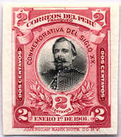 1901, 2 C., Red, Black, Imperforated Single Die Proof Of The American Banknote Company, Rare, NG,VF!. Estimate 900€. - Peru