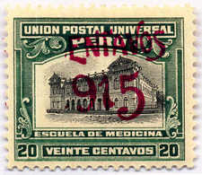 """1915, 2 C. On 20 C., Overrpint Error """"C"""" And """"1"""" Are Missing (!) Resulting In """"ENTAVOS"""" And """"915"""", Rare, MH,XF!. Estima - Peru"""