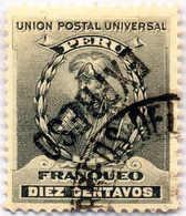 "1908, 10 C., Grey Black, Overprint ""EXPRESO"" Inverted, Used, VF!. Estimate 300€. - Peru"