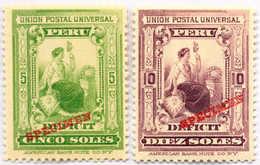 1899, 5 S., 10 S., With Red SPECIMEN Overprint, Rare, MNH,VF! / XF!. Estimate 1.800€. - Peru