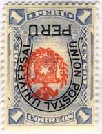 1882, 1 S., Ultramarine, Arms And Horseshoe Inverted (!), MH,VF!. Estimate 200€. - Peru