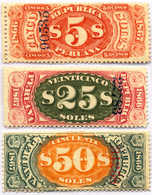 1866/67, 5 S., 25 S., 50 S., Lot Of (3), Fiscal Stamps With Numeral Overprint, MH,F - VF!. Estimate 750€. - Peru