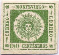 1862, 180 C., Deep Green, Thick Values, Imperforated, Big Margins, Fresh Gum, MNH, VF!. Estimate 1.100€. - Uruguay