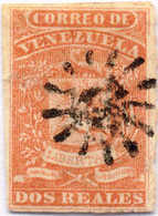 "1859, 2 R., Vermilion With Perfect ""sun"" Cancel, Very Good Margins, F!. Estimate 100€. - Venezuela"