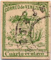1862, 1/4 C., Green, Wide Margins, Used, XF!. Estimate 300€. - Venezuela