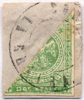 1863/4, 2 R., Green, Bisected Stamp On Piece, Nice Cancel, F - VF!. Estimate 700€. - Venezuela