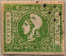 1859, 4 R., Green, With Cancel, Good Margins, VF!. Estimate 120€. - Argentinien