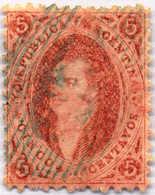 1865, 5 C., Rose Red, Blue Cancellation, VF - XF!. Estimate 150€. - Argentinien