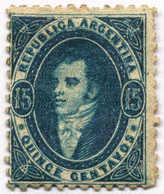 1864, 15 C., Blue, Clear And Intermediate Impression, MH, F!. Estimate 540€. - Argentinien