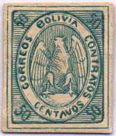 1868, 50 C., Blue Green, Imperforated, All Margins, NG, VF!. Estimate 250€. - Bolivien