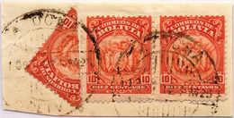 """1893, 10 C., Orange Red, (3), On Piece, With One Stamp Bisected, Value Of 25 C., Cancel """"ATOCHA"""", F - VF!. Estimate 300€ - Bolivien"""