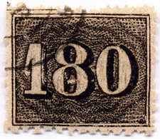 1866, 180 R., Black, Line Perf. 13 1/4, Used, F - VF!. Estimate 900€. - Brasilien