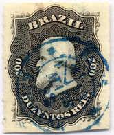 1875, 200 Rs., Black, Nice Blue Cancel, XF!. Estimate 300€. - Brasilien