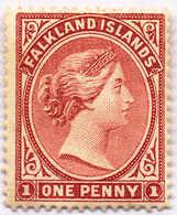 1882, 1 D., Dull Claret, MH, F - VF!. Estimate 360€. - Falkland Islands