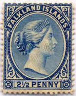 1894, 2 1/2 D., Prussian Blue, MH, F - VF!. Estimate 300€. - Falkland Islands