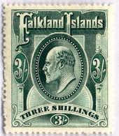 1904, 3 Sh., Slate Green, MH, VF!. Estimate 300€. - Falkland Islands