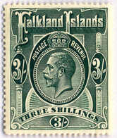 1912, 3 Sh., Slate Green, MH, SUP - XF!. Estimate 300€. - Falklandinseln