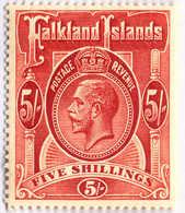 1912, 5 Sh., Deep Rose Red, MH, SUP - XF!. Estimate 260€. - Falklandinseln