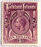 1914, 5 Sh., Reddish Maroon, MH, F - VF!. Estimate 360€. - Falkland Islands
