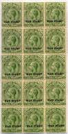 1918, 1/2 D., Yellow Green, Block Of (15), WAR STAMP Overprint, MNH, F - VF!. Estimate 600€. - Falkland Islands