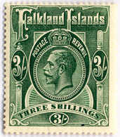 1923, 3 Sh., Slate Green, MH, F!. Estimate 120€. - Falklandinseln