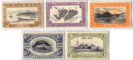 1933, 2 D. - 1 Sh., Lot Of (5), MH, VF - XF!. Estimate 300€. - Falklandinseln