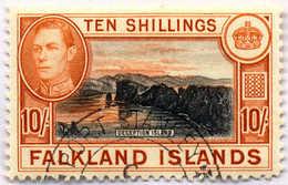 "1938, 10 Sh., Black And Orange Brown, Cancel ""PORT STANLEY"", SUP - XF!. Estimate 120€. - Falkland Islands"