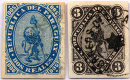 1870, 2, 3 R.,blue And Black, Set Of (2), With Cancel, All Margins, F - VF!. Estimate 370€. - Paraguay