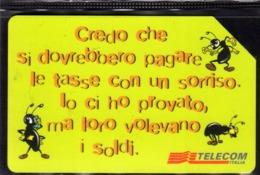 ITALIA ITALY SCHEDA TELEFONICA CARTA DI CREDITO TELECOM ANCHE LE FORMICHE NEL LORO PICCOLO USATA USED LIRE 5000 - Italie