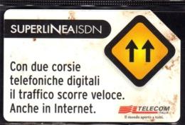 ITALIA ITALY SCHEDA TELEFONICA CARTA DI CREDITO TELECOM SUPERLINEA ISDN USATA USED LIRE 5000 - Italie