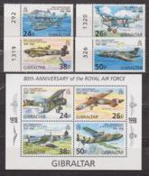 Aviation - GIBRALTAR - Avions De La Royal Air Force - N° 827 à 830 + BF N° 31 ** - 1998 - Gibraltar