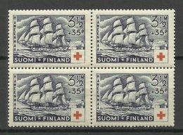 FINLAND FINNLAND 1937 Michel 201 As 4-block Schiff Ship Red Cross MNH - Finland