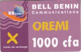 Bell Benin Oremi 1000 Cfa BBCom Carte De Recharge - Benin