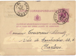 BELGIQUE ENTIER CARTE CORRESPONDANCE TàD BRUXELLES 9 JANV 1879 - LIBRAIRIE UNIVERSELLE - Pour CHARLEROI - Ganzsachen