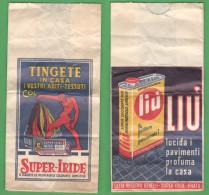 Pubblicità Cera Liù E Super Iride Busta / Sacchetto Pubblicitario Anni 60 - Publicité