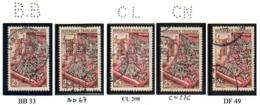 Perforé France Type Commémoratif 15 N° 970, 971, 972,  973 (34, 20, 30, 48  Perf Connues Pour Ces Timbres) - Frankreich