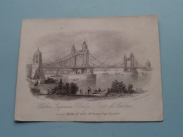 CHELSEA Suspension BRIDGE (Thomas Page) Opened March 29 1858 ( Porcelein / Porcelaine ) Formaat +/- 15,5 X 11,5 Cm.! - Estampes & Gravures