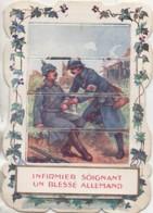 Chromo à Système Infirmier Soignant Un Blessé Allemand (guerre 14-18) - Cromo