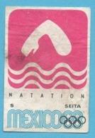 ETIQUETTE DE BOITE D'ALLUMETTES - JEUX OLYMPIQUES MEXICO 1968 NATATION - Zündholzschachteletiketten