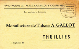 453/30 - Commande De Tabacs En Port Payé Destinataire Cachet à Etoiles RELAIS SOYE (Namur) 1951 Vers Gallot à THUILLIES - Poststempels/ Marcofilie