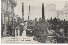 CPA PARIS  Crue De La Seine Gare Saint-Lazare Pompes D'épuisement  Le 29  Janvier 1910   édit ELD - Überschwemmung 1910