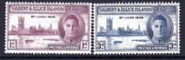 Gilbert & Ellice Islands GVI 1946 Victory Set Of 2, Hinged Mint, SG 55/6 (BP2) - Islas Gilbert Y Ellice (...-1979)