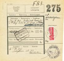455/30 - Formule De Colis Militaire Timbre Coupé En Deux - MECHELEN 1939 Vers Un Soldat Via La Gare De ZEDELGEM (BRUGGE) - Railway